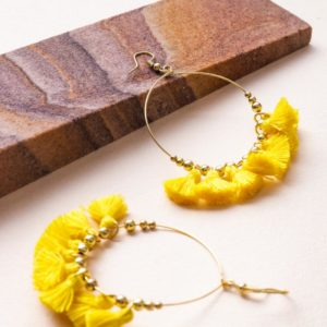 Metal And Thread Tassel Round Hook Earrings – Electric Yellow