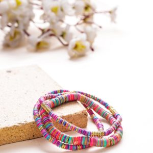 Small and Large Golden and Pink Sequence Bracelets