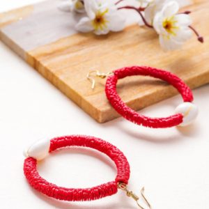 Flower Sequence and Cowrie Shell Red Hook Earrings