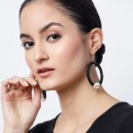 Flower Sequence and Cowrie Shell Black Hook Earrings