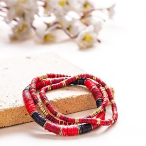 Small and Large Black And Red Sequence Bracelets