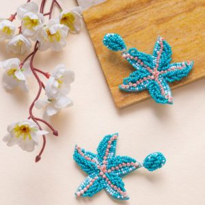 Turquoise Beads and Pearl Starfish Earrings
