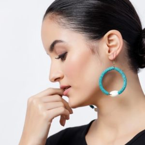 Flower Sequence and Cowrie Shell Turquoise Hook Earrings