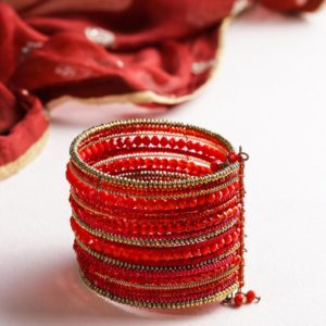 Traditional Handmade Red and Golden Bead Spiral Bracelet/Cuff