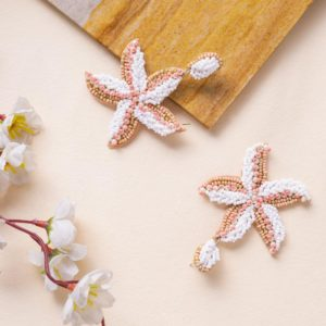 Brown Beads and Pearl Starfish Earrings