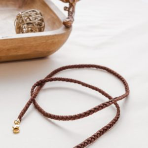 Brown Leather Men Mask Chain